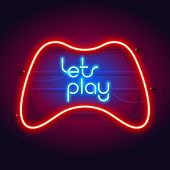 Colorful Neon Lets Play Sign With Game Controller For Your Projects In Retro-futuristic Style. poster