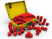 Open Suitcase And Cubes With Symbol Of Percentage. Open Suitcase And Many Red Cubes With A Symbol Of poster