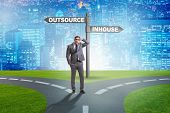 Businessman at crossroads deciding between outsourcing and inhou poster