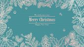 Christmas Card. Holidays Background, Invitation. Winter Fir Pine Branches, Pinecones Floral Border.  poster