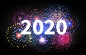 Fireworks Explosion. Happy New Year 2020 Event Banner. Pyrotechnics Sparks. Festive Firework Celebra poster