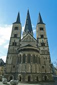 stock photo of bonnes  - Minster one of the oldest churches in Germany emblem of the City of Bonn - JPG