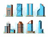 Modern Skyscraper. Corporate Offices Buildings Constructions Exterior Towers Vector Urban Collection poster