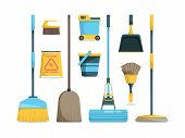 Broom Collection. Household Equipment Mops And Brooms For Floor Home Hygiene Vector Cartoon Pictures poster