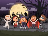Halloween Backgrounds. Kids Playing In Scary Costumes For Halloween Devil Horror Party Ghost Zombie  poster