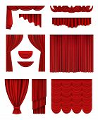 Curtain Stage. Theatrical Opera Hall Decoration Red Luxury Silk Curtains Vector Realistic Collection poster