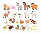 Cute Farm. Big Set Of Cartoon Farm Animals And Pets For Kids And Children. Cow, Horse, Pig And Many  poster