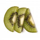 Three kiwi fruit slices isolated on white background closeup. Half of kiwi slice. Kiwifruit slice,   poster