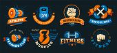 Vintage Gym Emblem. Athlete Muscles, Fitness And Bodybuilding Labels. Sport Signs, Athlete Logo Silh poster