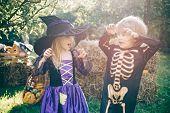 Trick-or-treat Child Concept. Children In America Celebrate Halloween. Cute Children Wearing Hallowe poster