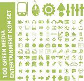 Постер, плакат: 100 светло зеленый медиа развлечения икона set