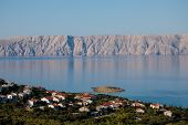 Croatian Town Klenovica. View Of Adriatic Sea And Krk Island Early Morning poster