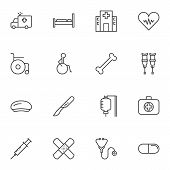 Medical Line Icons Set. Linear Style Symbols Collection, Outline Signs Pack. Vector Graphics. Set In poster