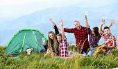 Summer Adventures. Group Friends Relaxing Picnic In Mountains. Friends Enjoy Vacation. Pleasant Hike poster