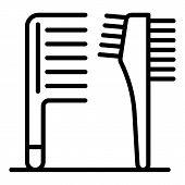 Plastic Hairbrush Icon. Outline Plastic Hairbrush Vector Icon For Web Design Isolated On White Backg poster