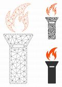 Mesh Torch Flame Model With Triangle Mosaic Icon. Wire Frame Polygonal Mesh Of Torch Flame. Vector C poster