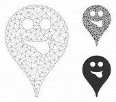 Mesh Tongue Smiley Map Marker Model With Triangle Mosaic Icon. Wire Frame Polygonal Mesh Of Tongue S poster
