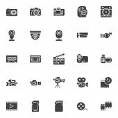 Video And Photo Vector Icons Set, Modern Solid Symbol Collection, Filled Style Pictogram Pack. Signs poster