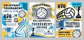 Volleyball Sport Championship Cup And School League Or College Team Match Tournament Halftone Poster poster