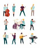 Musicians And Singers Vector Characters Set. Cartoon Man, Woman. Music And Singing Art. Cello, Guita poster