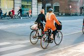 Street Life In Copenhagen. People Riding Bikes In The City Center. poster