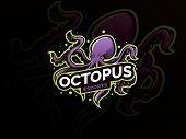 Squid, Kraken, Octopus Mascot Logo Design For Sport Team. Vector Esports Logo Concept, Modern Badge  poster