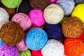 Set Of Colorful Wool Yarn Balls. Hanks Are Set Out In A Pile. Wool Yarn Rolls. Colorful Threads For  poster