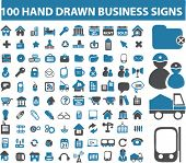 100 hand drawn business signs. vector. see more professional signs in my portfolio