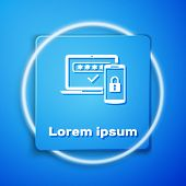 White Multi Factor, Two Steps Authentication Icon Isolated On Blue Background. Blue Square Button. V poster