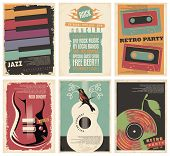 Vintage Collection Of Musical Posters. Flyers Set For Retro Parties, Rock And Jazz Concerts, Classic poster