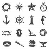 Sea Voyage Accessories Glyph Vector Icons Set poster