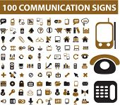 100 communication icons & signs, vector