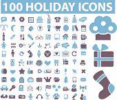 Постер, плакат: 100 праздники значки знаки векторные иллюстрации