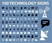 Постер, плакат: 100 технология знаки значки вектор