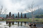 Scenic View Of Traditional Fisher Boat And Balinese Temple On Danau Tamblingan Lake, Popular Tourist poster