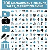 100 management & money icons, signs, vector set, illustrations