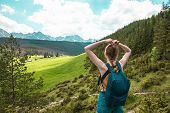 Lifestyle Travel Adventure Outdoor Summer Vacations Tourist With Backpack Enjoying Beautiful View Of poster