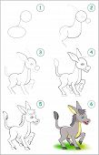 How To Draw Step By Step A Cute Little Donkey. Educational Page For Kids. Back To School. Developing poster