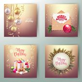Set Of Merry Christmas And Happy New Year Decorative Postcard Banners, Decorative Traditional Elemen poster