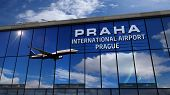 Jet Aircraft Landing At Praha, Prague, Czech Republic 3d Rendering Illustration. Arrival In The City poster