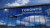 Jet Aircraft Landing At Toronto, Canada 3d Rendering Illustration. Arrival In The City With The Glas poster