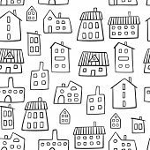 House Seamless Pattern. Doodle Vector Pattern With Various Houses. Village Texture Cartoon Style. Fu poster