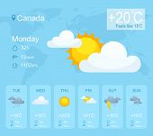Weather Forecast Smartphone Application Vector Template. Mobile App Page Blue Interface. Weather Con poster