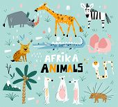 Set Of African Animals In A Flat Style. Vector Set Of Children S Drawings. Trendy Style. Doodle Styl poster