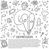 Sad And Depressed Boy Sitting. Depression Boy Doodle. Heartbreak And Sad Doodle Man. Depression Sign poster