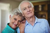 Portrait of senior couple smiling in living room at home poster