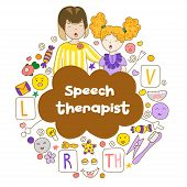 Concept Speech Therapy Logo. School Speech Development. Cute Childrens Drawings Icons In Kavai Style poster