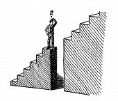 Freehand Line Art Sketch Of A Business Man Standing At The Verge Of A Deep Gap In A Stairway On His  poster