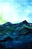 Blue Sea Storm And Blue Sky Watercolor Drawing. Watercolor Background For Textures. Abstract Waterco poster