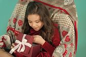 What Is Inside. Happy Little Smiling Girl Open New Year Gift Box. Cute Little Child Girl With New Ye poster